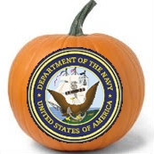 US Navy logo on a painted pumpkin