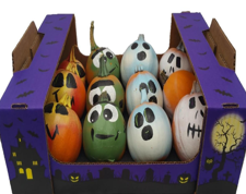Painted monster pumpkins for children